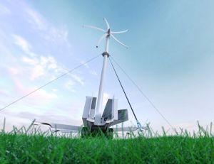 Портативна вятърна турбина се пренася с обикновен транспортен контейнер
