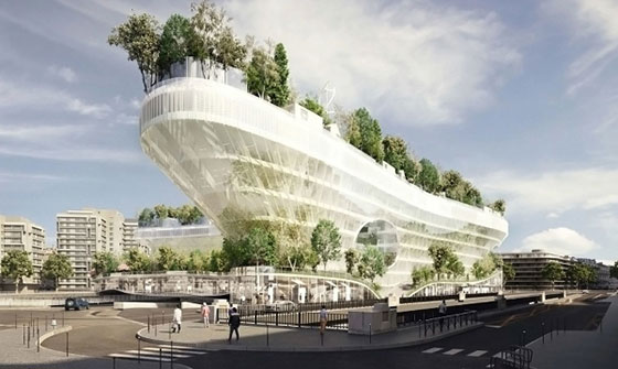 Корабоподобен жилищен блок в Париж ще е покрит с хиляди дървета
