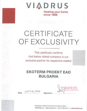 Екотерм Проект ЕАД за втори път сключи договор за изключително представителство